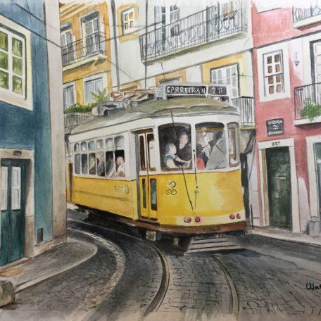 Street Car in Lisbon Watercolor Painting by Jim Watters