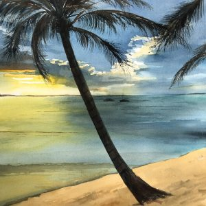 Setting Sun under the Palm